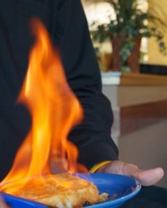 Flaming Saganaki appetizer